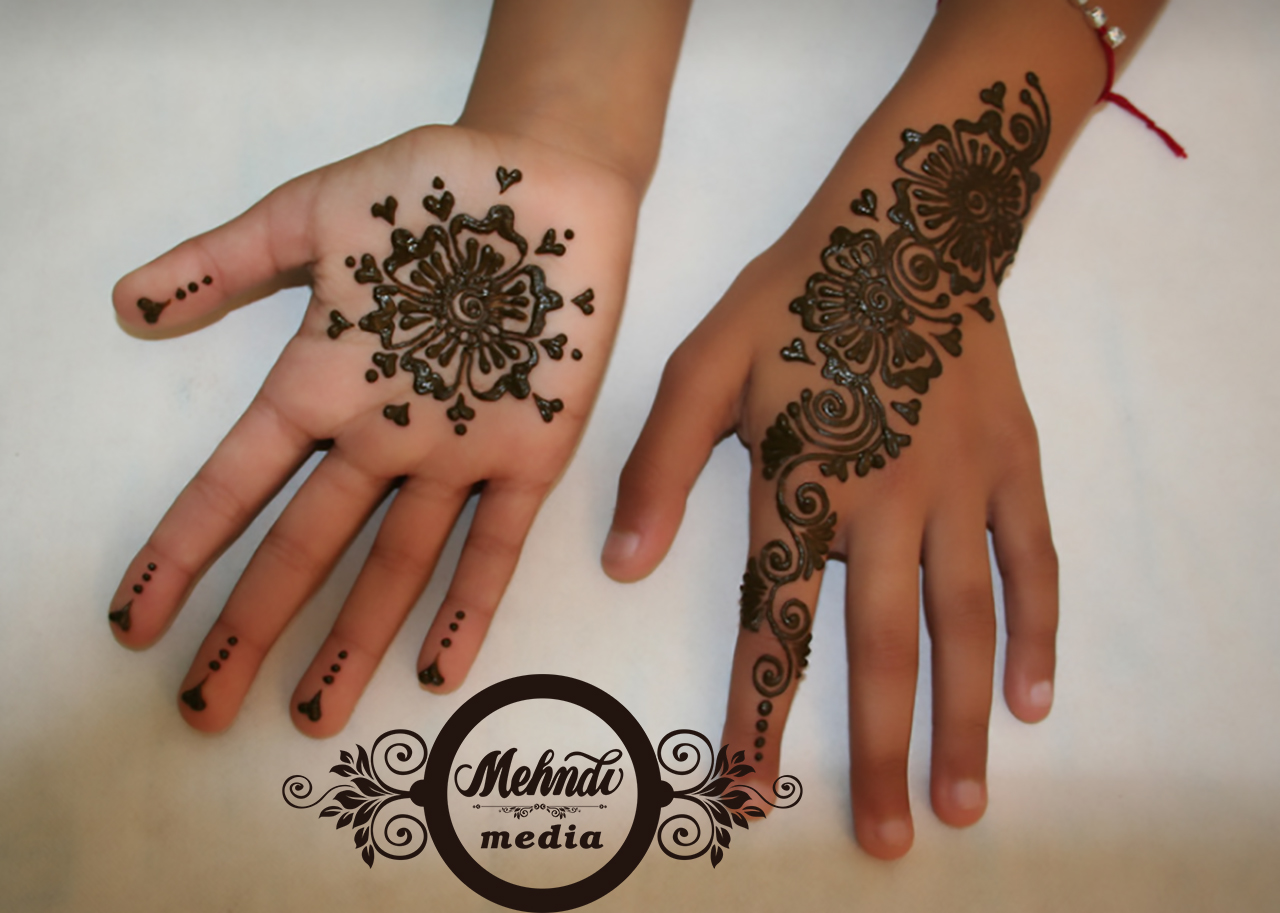 Flower Mehndi Designs For Back Hands : Mehndi design for kids front and back hand media