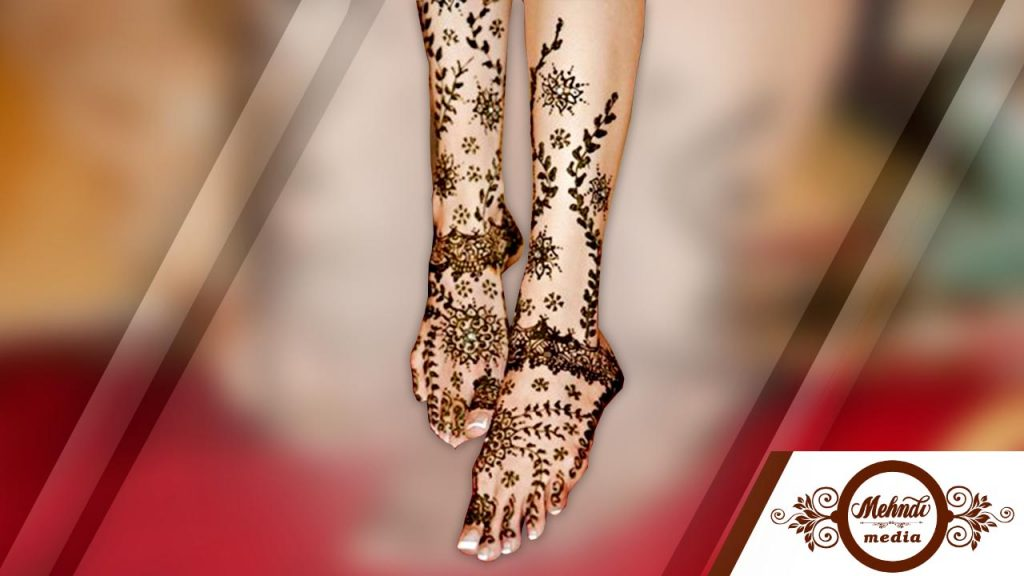 mehndi designs for legs step by step